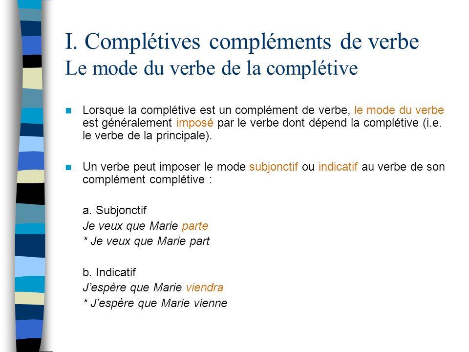 I. Complétives compléments de verbe Le mode du verbe de la complétive