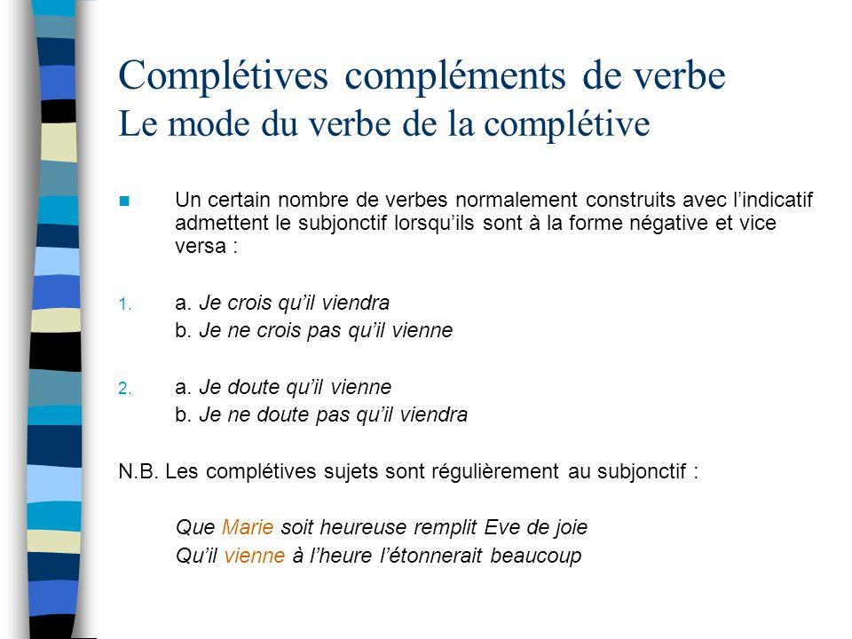 Complétives compléments de verbe Le mode du verbe de la complétive