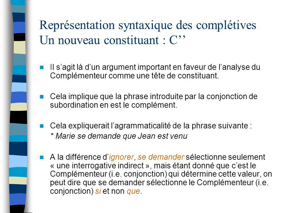Représentation syntaxique des complétives Un nouveau constituant : C''