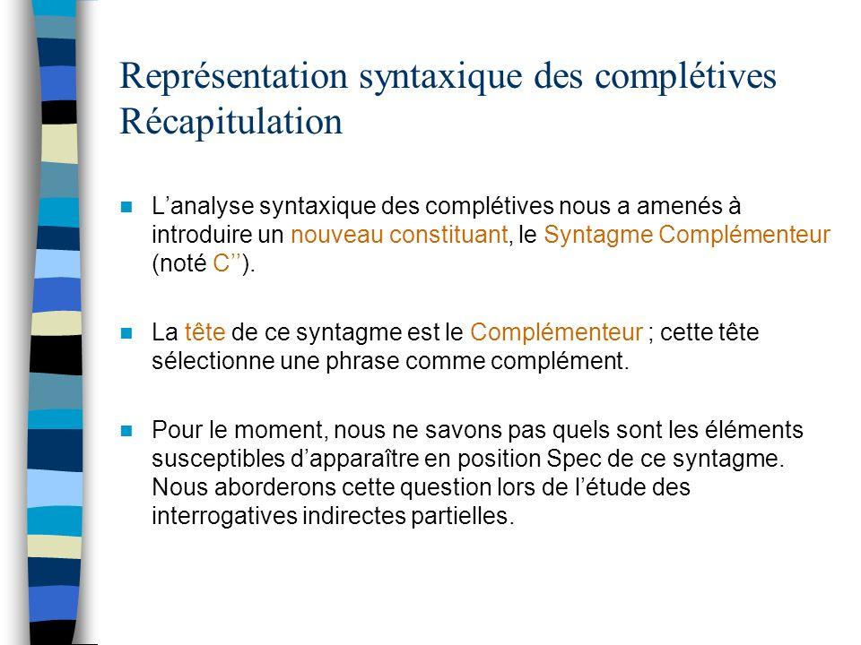 Représentation syntaxique des complétives Récapitulation