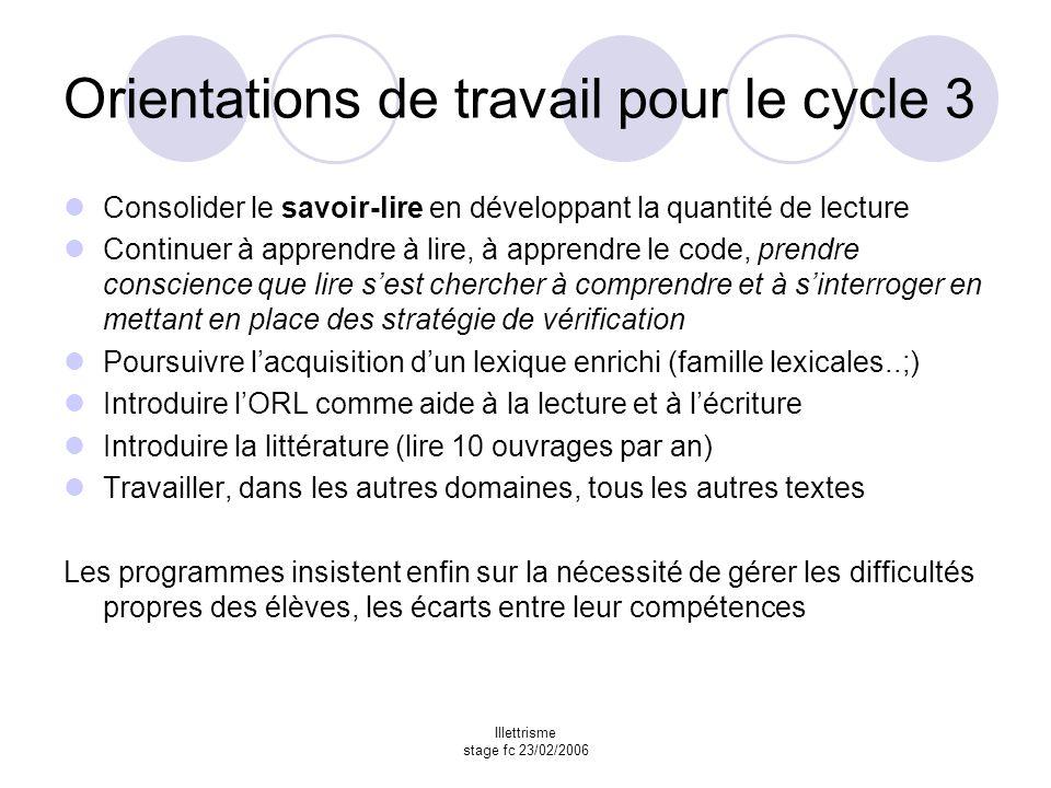 Orientations de travail pour le cycle 3