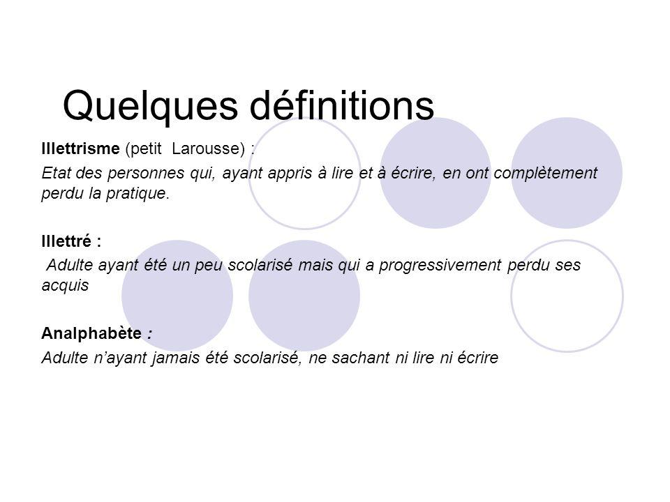 Quelques définitions Illettrisme (petit Larousse) :