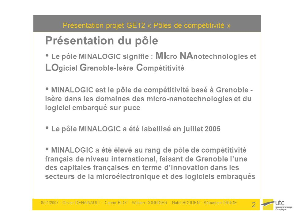 Présentation projet GE12 « Pôles de compétitivité »
