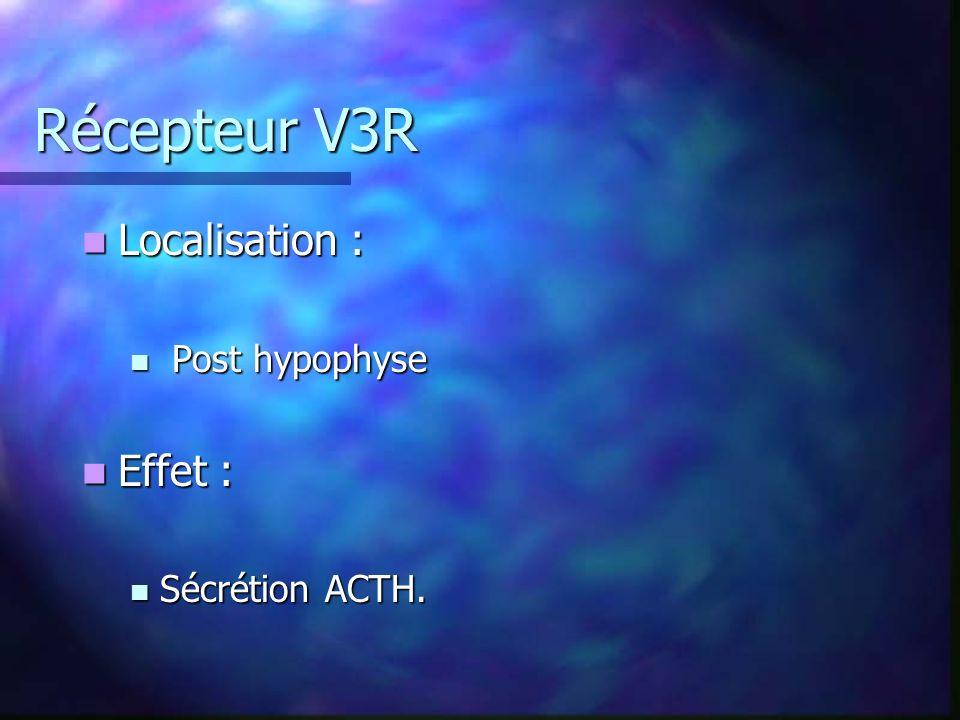 Récepteur V3R Localisation : Post hypophyse Effet : Sécrétion ACTH.