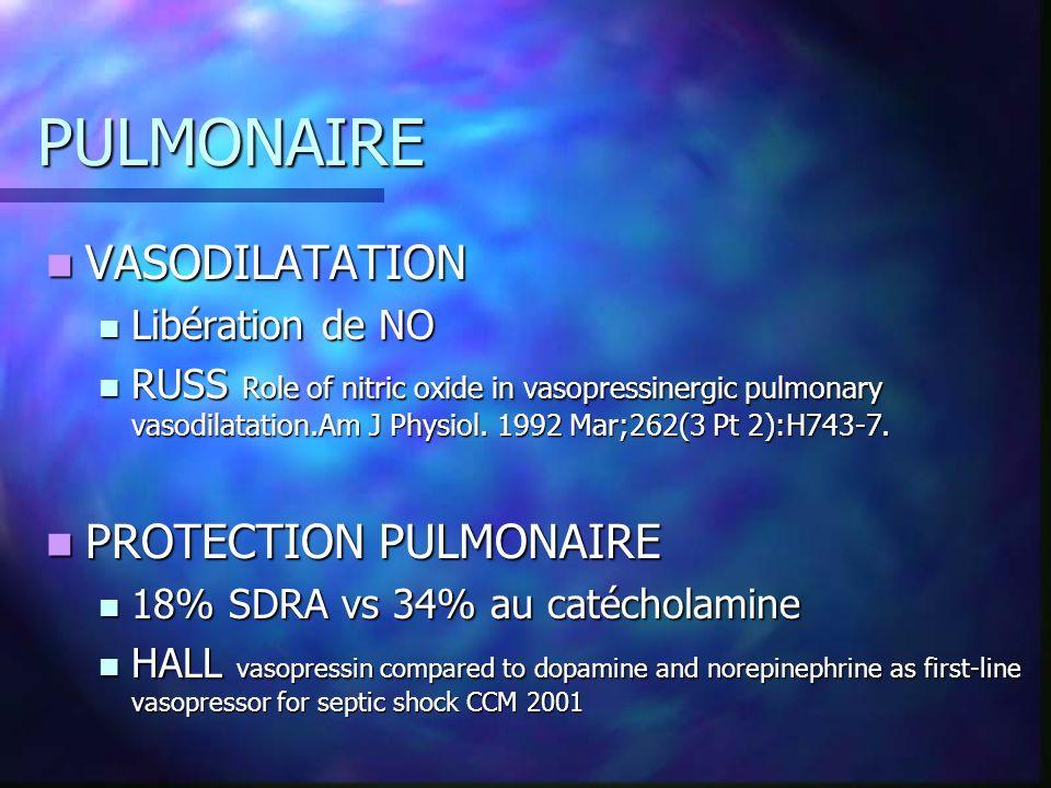 PULMONAIRE VASODILATATION PROTECTION PULMONAIRE Libération de NO