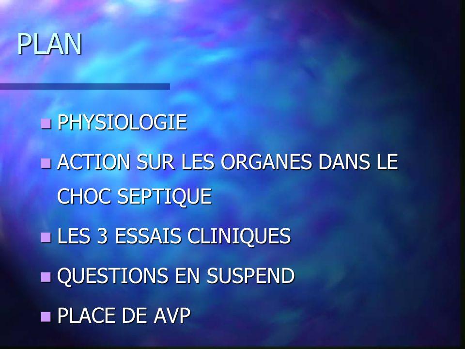 PLAN PHYSIOLOGIE ACTION SUR LES ORGANES DANS LE CHOC SEPTIQUE