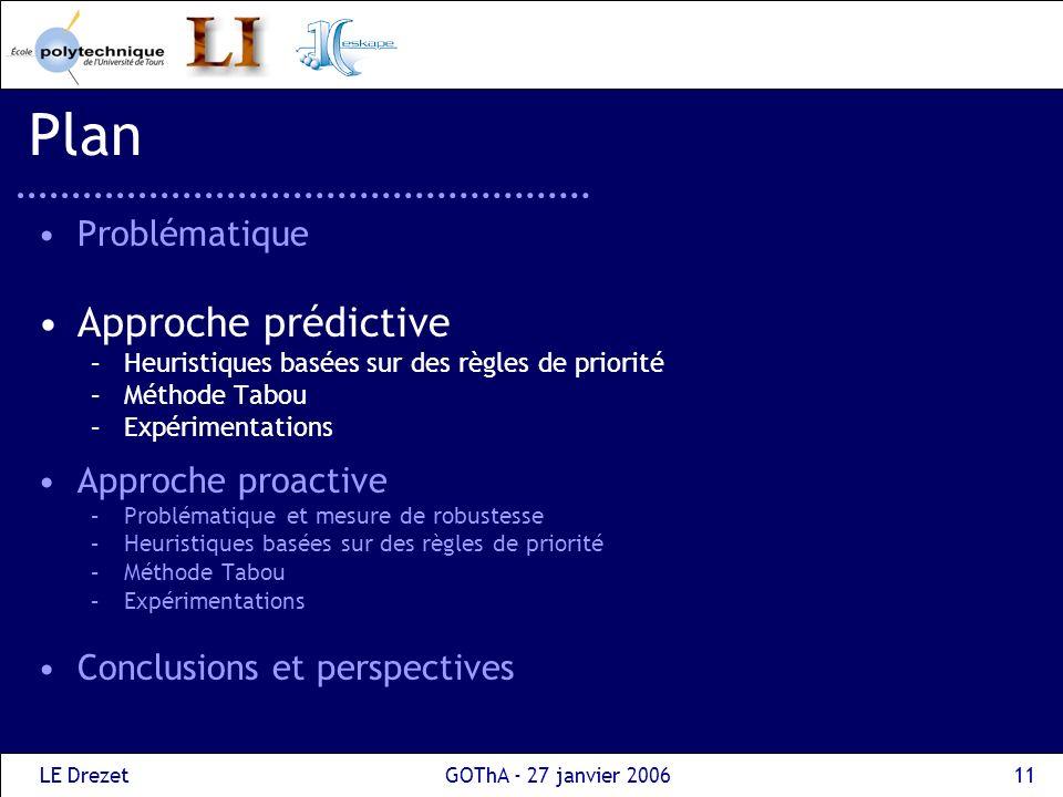 Plan Approche prédictive Problématique Approche proactive