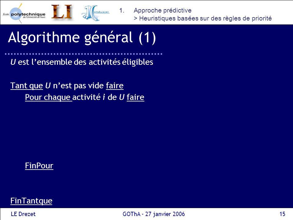 Algorithme général (1) U est l'ensemble des activités éligibles