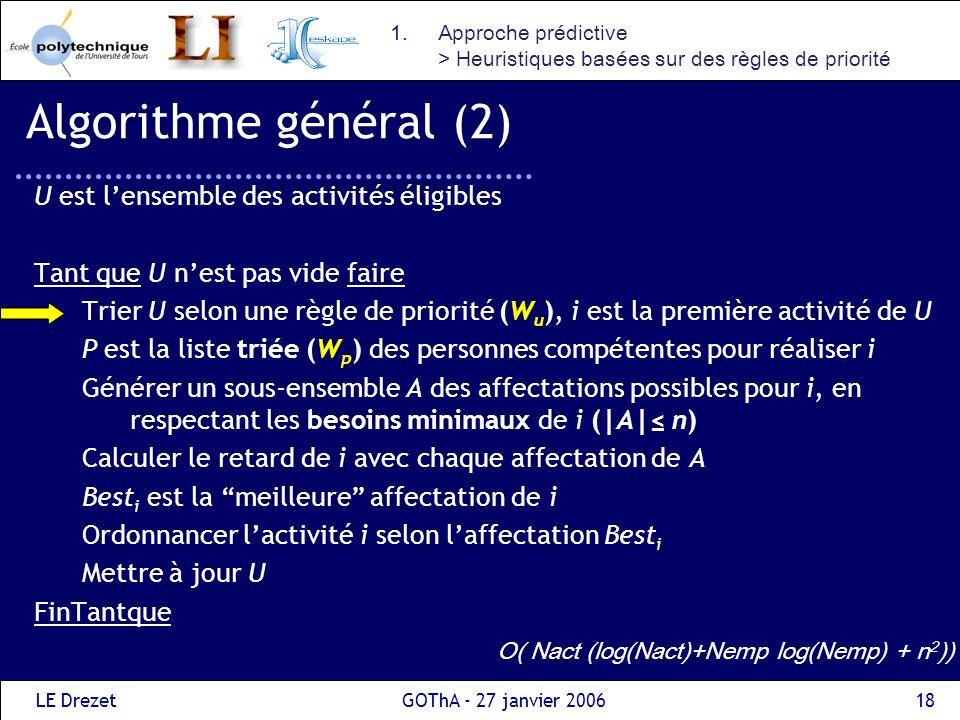 Algorithme général (2) U est l'ensemble des activités éligibles