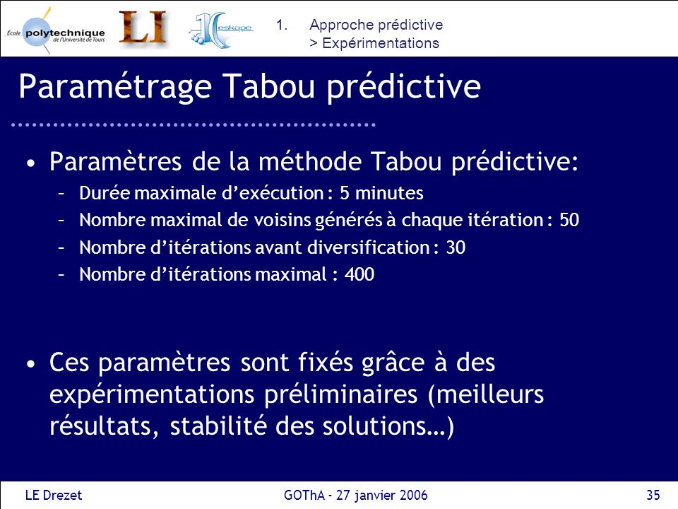 Paramétrage Tabou prédictive
