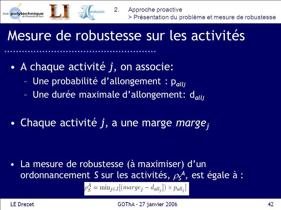 Mesure de robustesse sur les activités