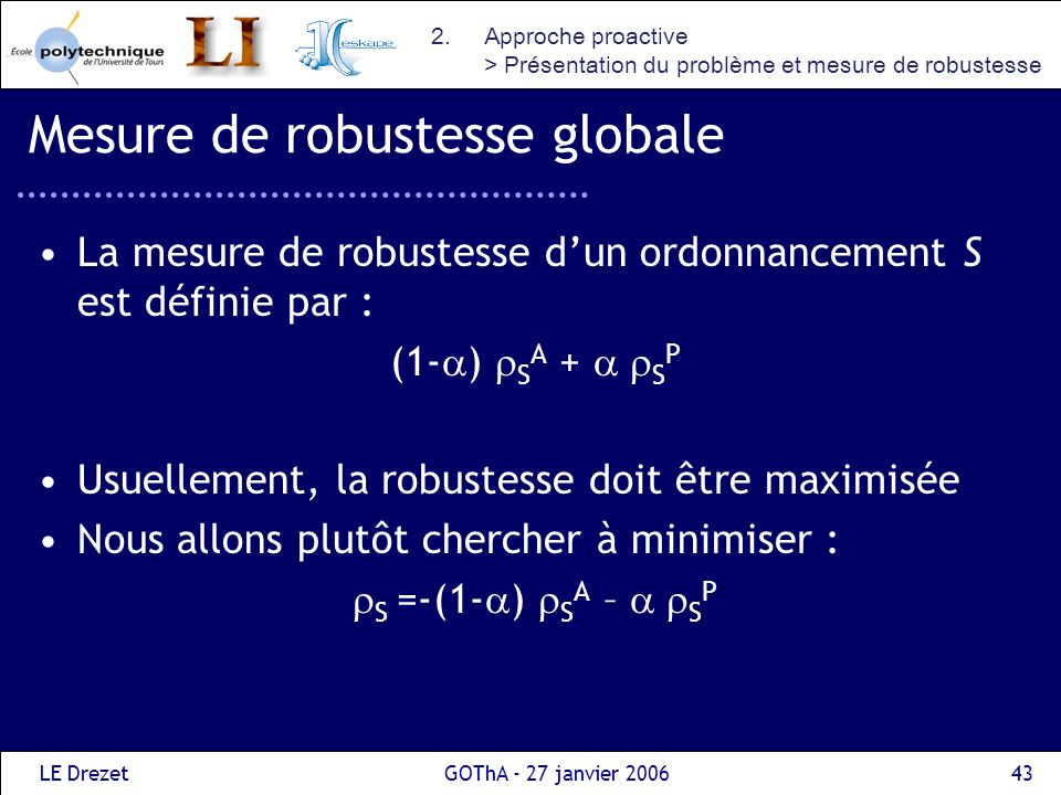 Mesure de robustesse globale