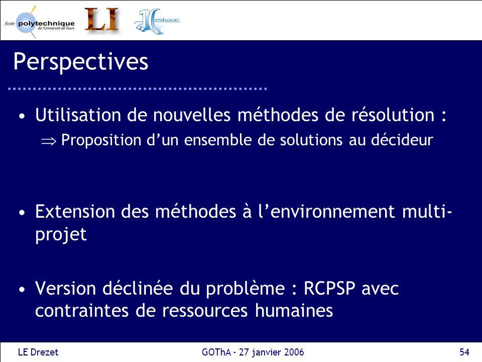Perspectives Utilisation de nouvelles méthodes de résolution :