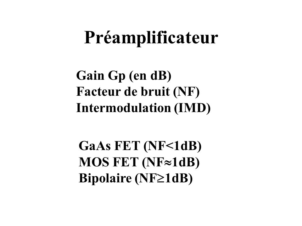 Préamplificateur Gain Gp (en dB) Facteur de bruit (NF)