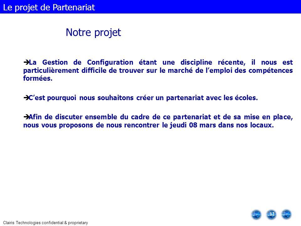 Notre projet Le projet de Partenariat