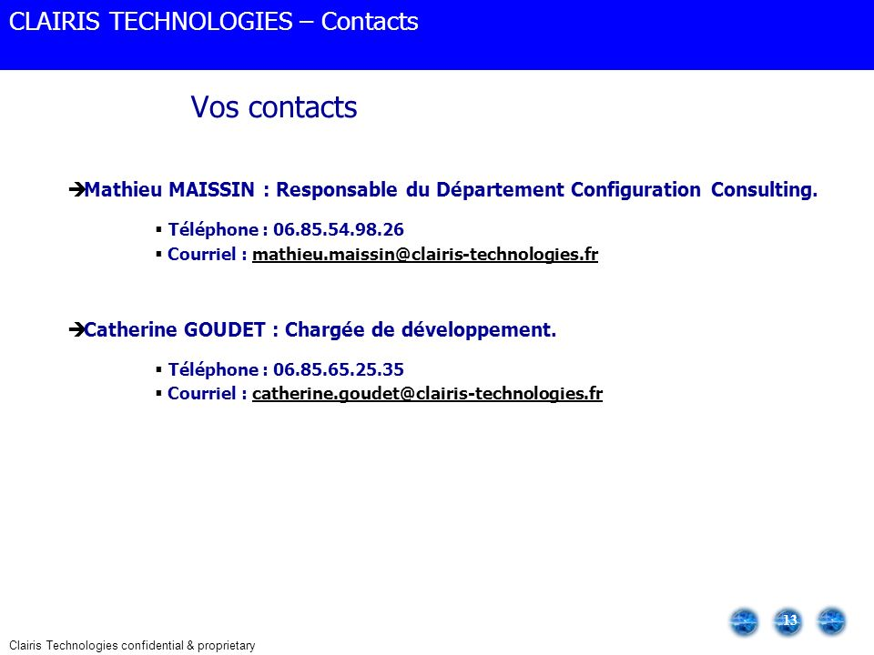 Vos contacts CLAIRIS TECHNOLOGIES – Contacts