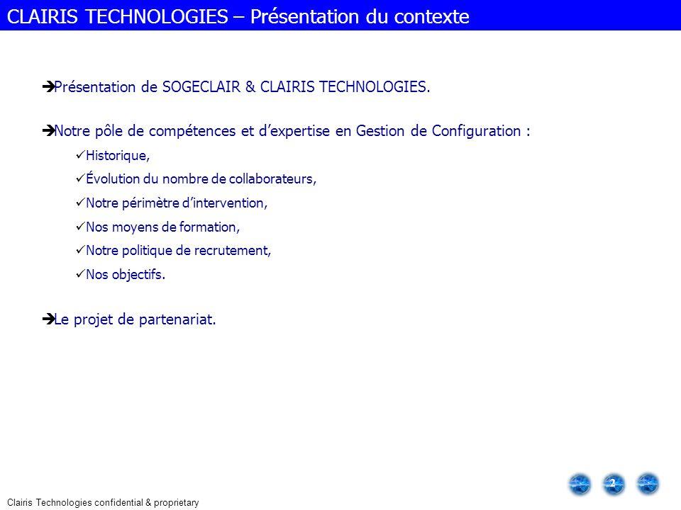 CLAIRIS TECHNOLOGIES – Présentation du contexte