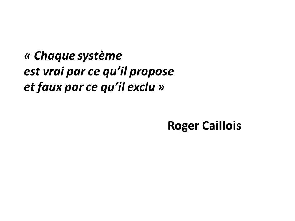 « Chaque système est vrai par ce qu'il propose et faux par ce qu'il exclu » Roger Caillois