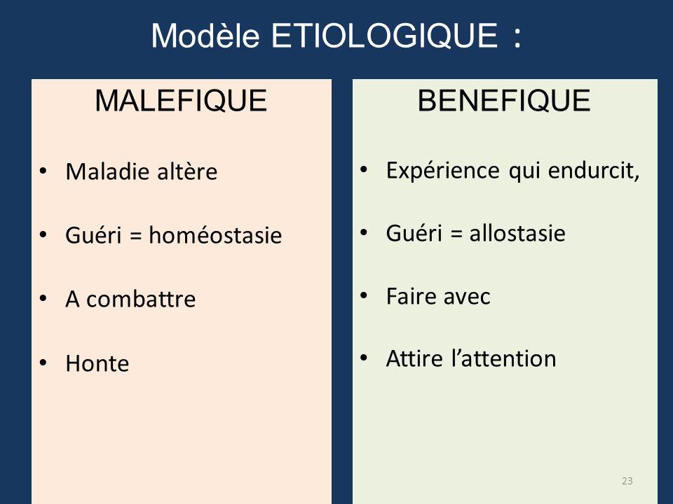 Modèle ETIOLOGIQUE : MALEFIQUE BENEFIQUE Maladie altère