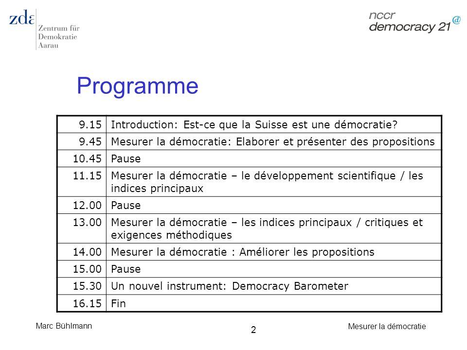 Programme 9.15 Introduction: Est-ce que la Suisse est une démocratie