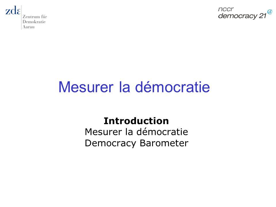 Introduction Mesurer la démocratie Democracy Barometer