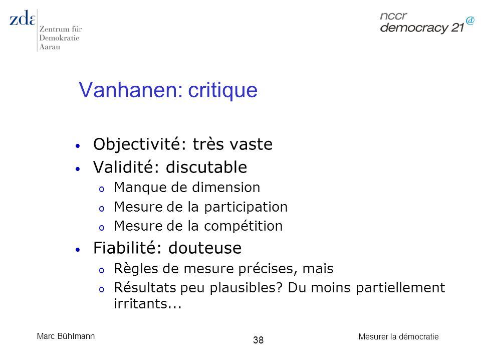Vanhanen: critique Objectivité: très vaste Validité: discutable