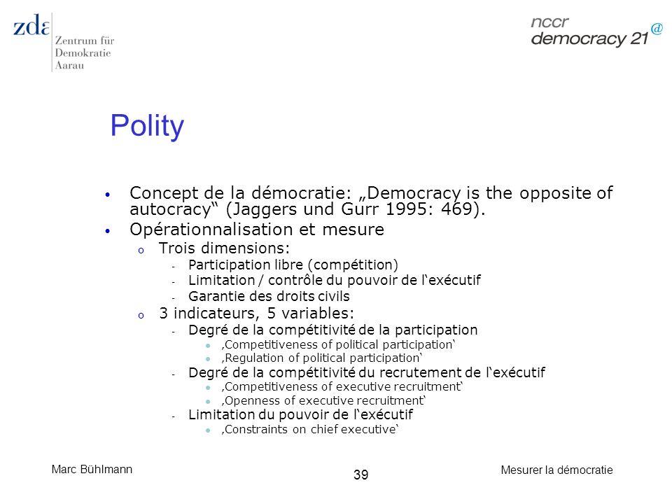 """Polity Concept de la démocratie: """"Democracy is the opposite of autocracy (Jaggers und Gurr 1995: 469)."""