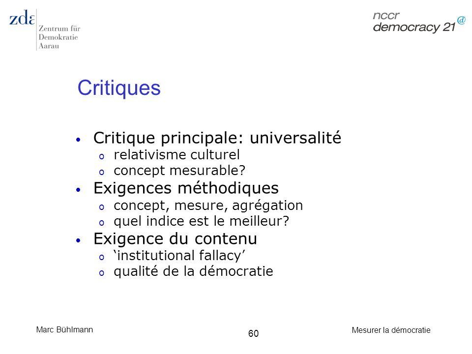 Critiques Critique principale: universalité Exigences méthodiques