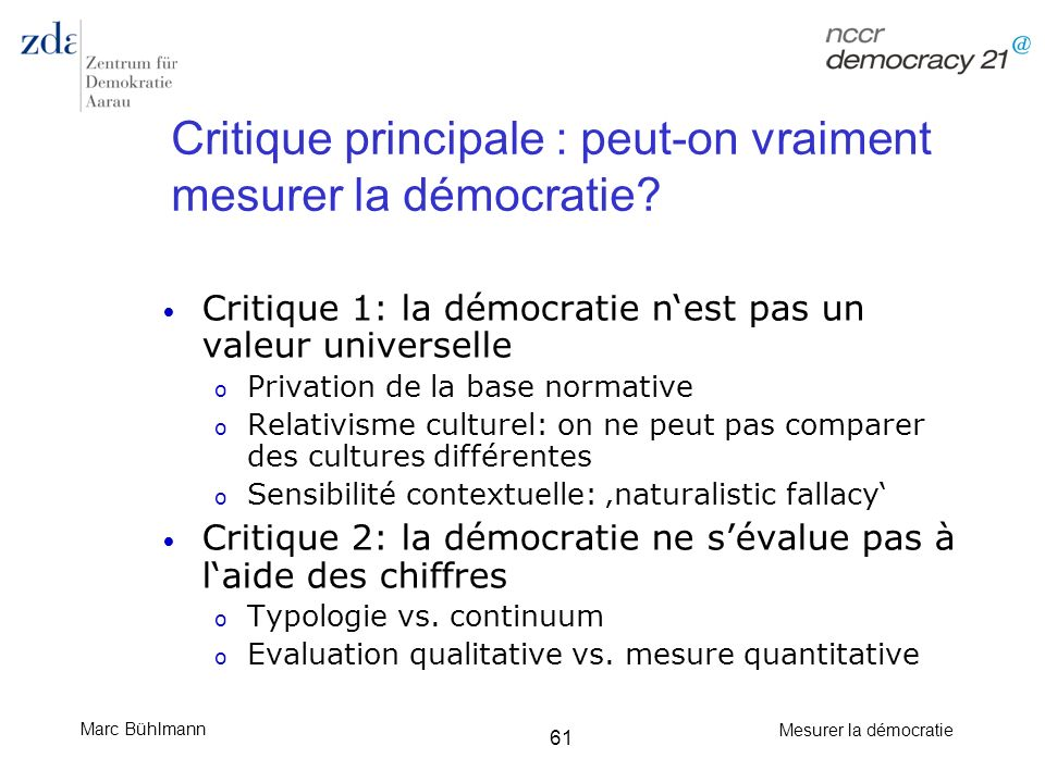 Critique principale : peut-on vraiment mesurer la démocratie
