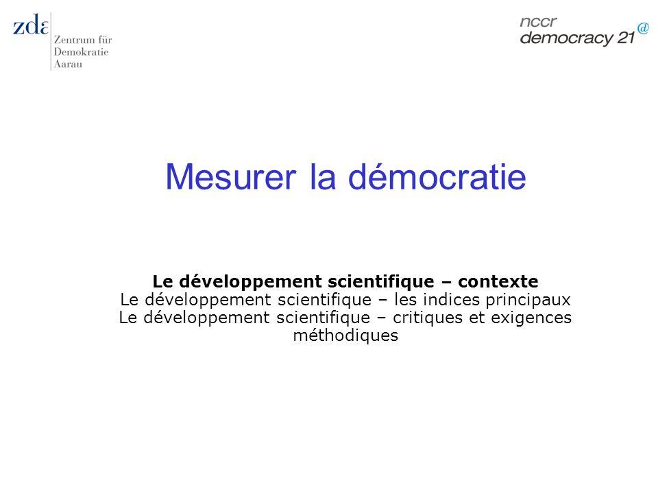 Le développement scientifique – contexte