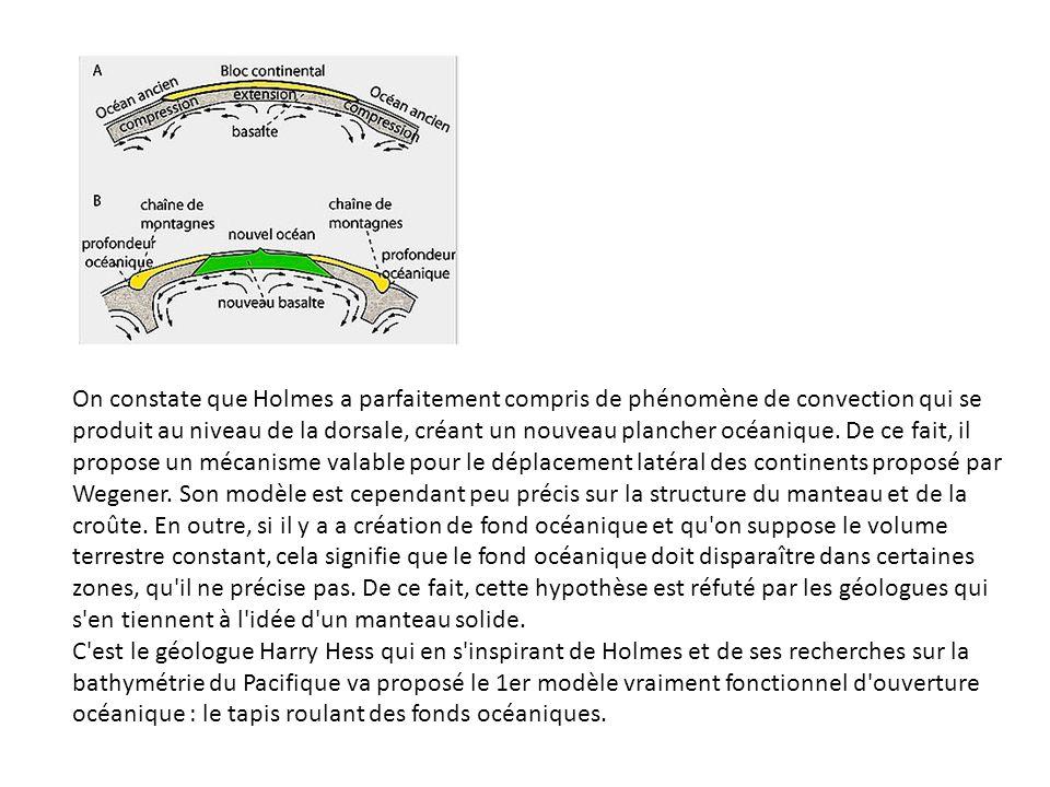 On constate que Holmes a parfaitement compris de phénomène de convection qui se produit au niveau de la dorsale, créant un nouveau plancher océanique. De ce fait, il propose un mécanisme valable pour le déplacement latéral des continents proposé par Wegener. Son modèle est cependant peu précis sur la structure du manteau et de la croûte. En outre, si il y a a création de fond océanique et qu on suppose le volume terrestre constant, cela signifie que le fond océanique doit disparaître dans certaines zones, qu il ne précise pas. De ce fait, cette hypothèse est réfuté par les géologues qui s en tiennent à l idée d un manteau solide.