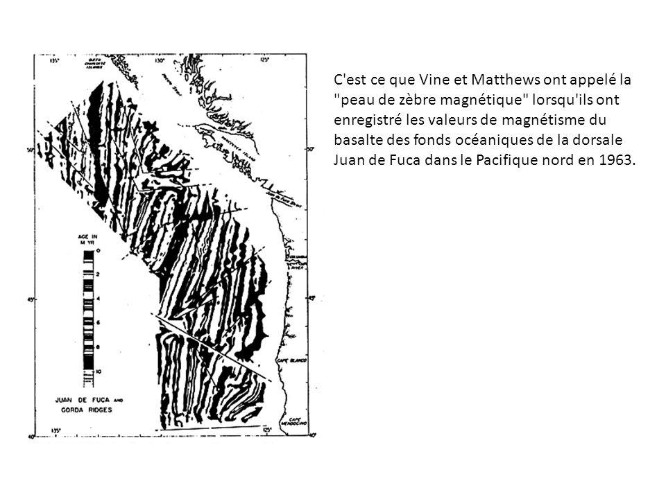 C est ce que Vine et Matthews ont appelé la peau de zèbre magnétique lorsqu ils ont enregistré les valeurs de magnétisme du basalte des fonds océaniques de la dorsale Juan de Fuca dans le Pacifique nord en 1963.