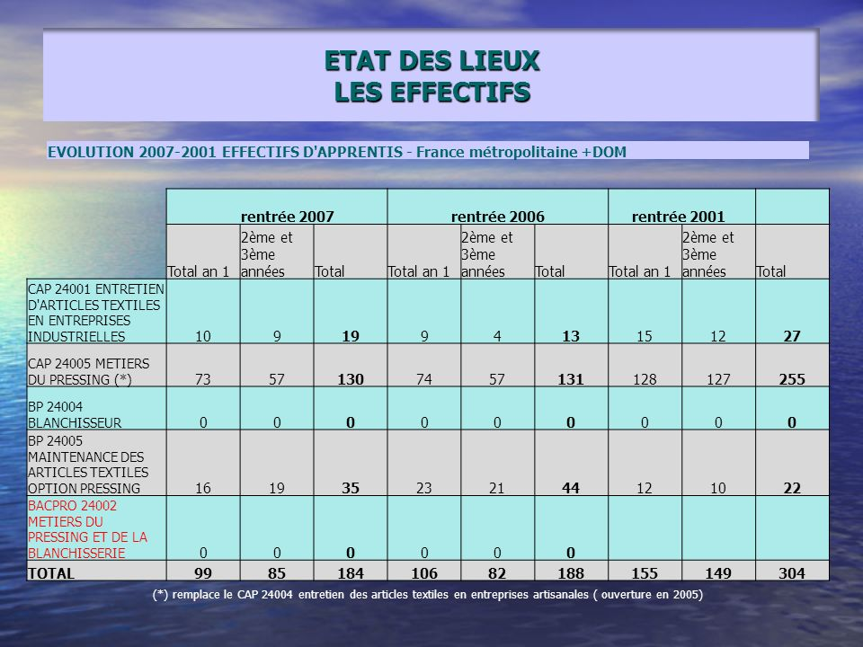 ETAT DES LIEUX LES EFFECTIFS