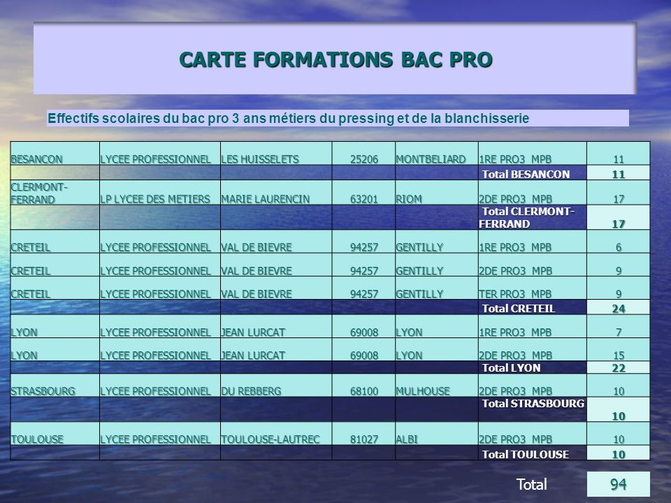 CARTE FORMATIONS BAC PRO