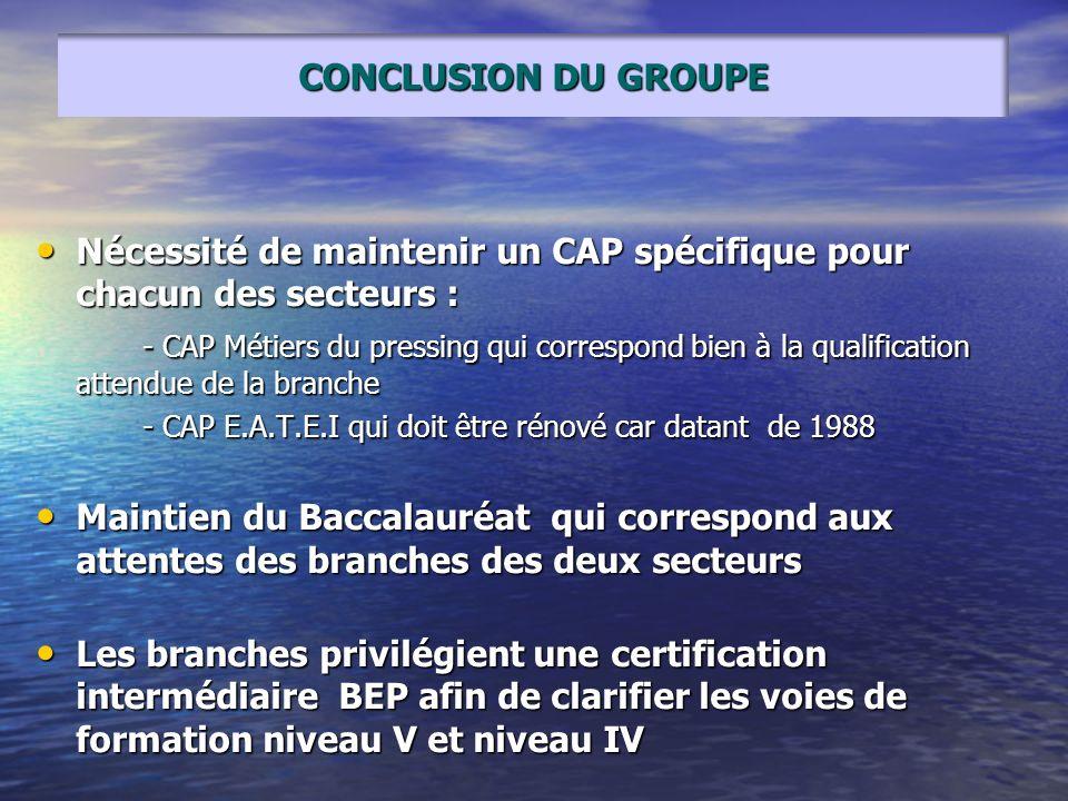 Nécessité de maintenir un CAP spécifique pour chacun des secteurs :