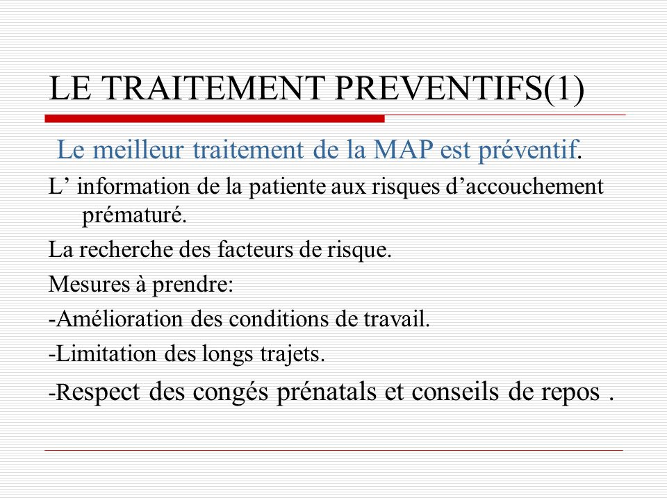 LE TRAITEMENT PREVENTIFS(1)