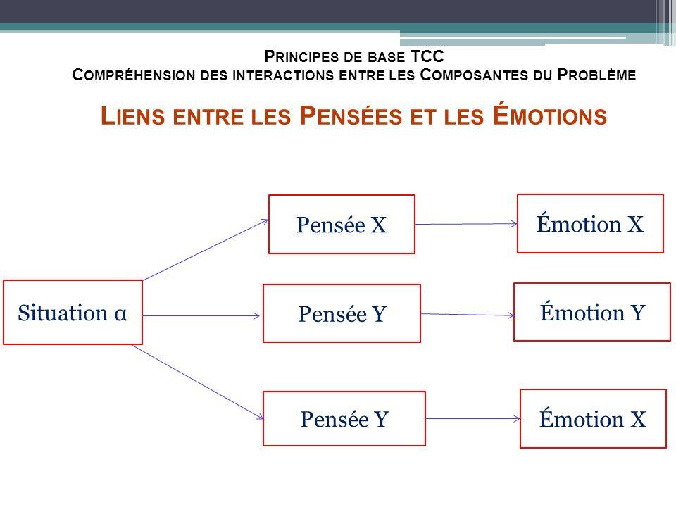 Principes de base TCC Compréhension des interactions entre les Composantes du Problème Liens entre les Pensées et les Émotions