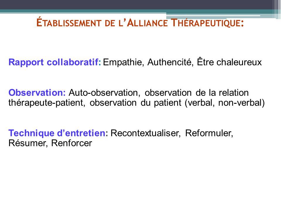 Établissement de l'Alliance Thérapeutique: