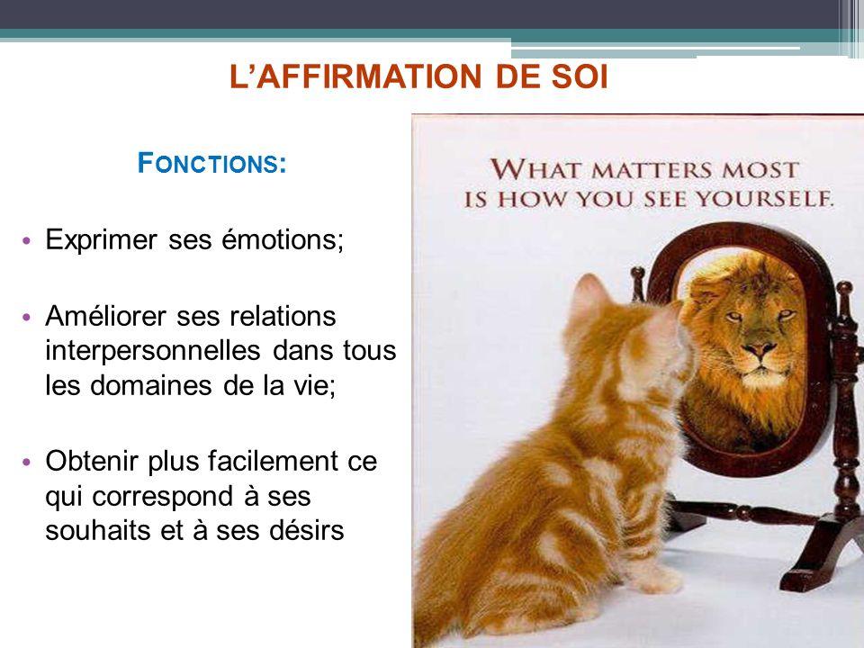 L'AFFIRMATION DE SOI Fonctions: Exprimer ses émotions;