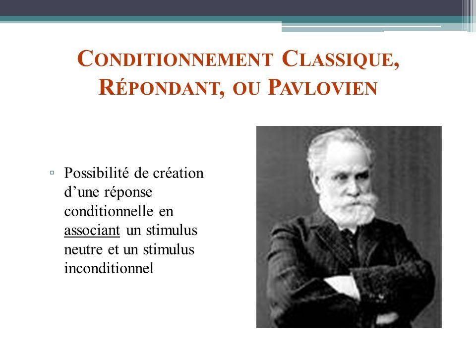 Conditionnement Classique, Répondant, ou Pavlovien