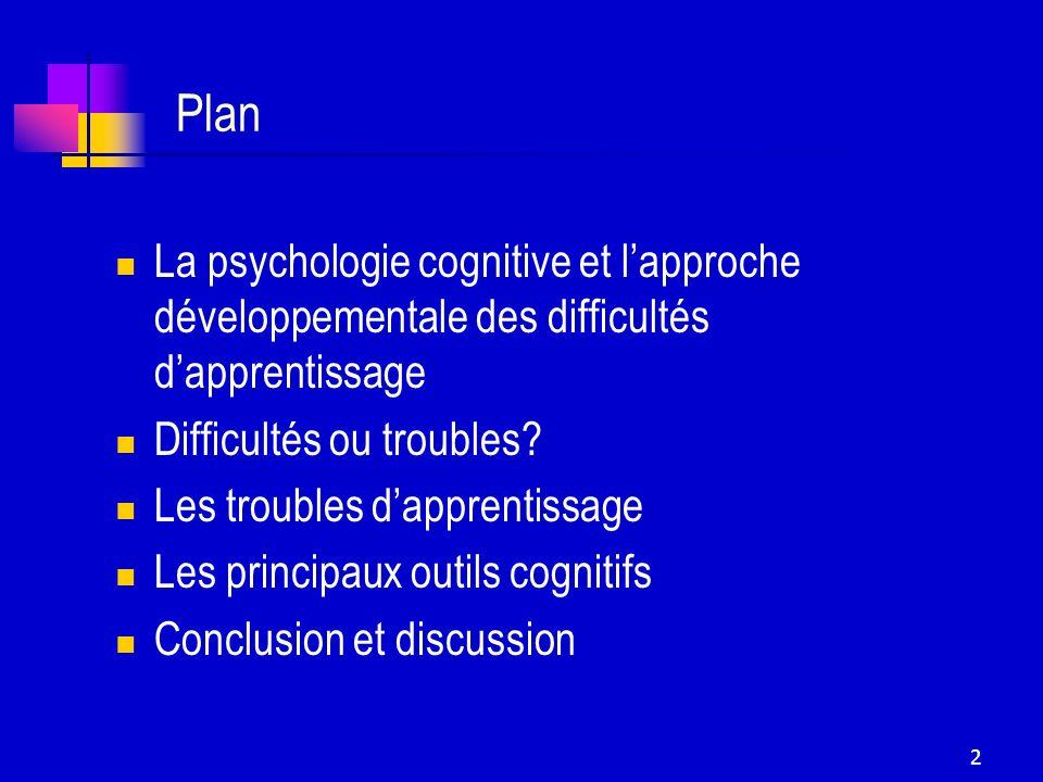 Plan La psychologie cognitive et l'approche développementale des difficultés d'apprentissage. Difficultés ou troubles
