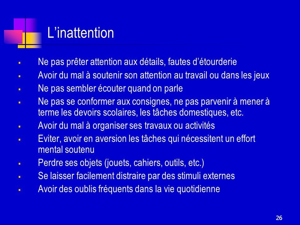 L'inattention Ne pas prêter attention aux détails, fautes d'étourderie