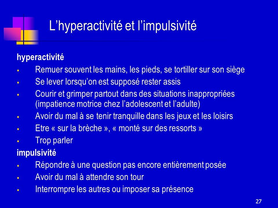 L'hyperactivité et l'impulsivité