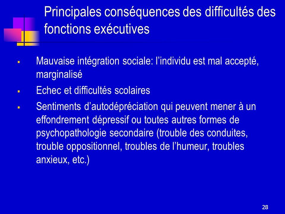 Principales conséquences des difficultés des fonctions exécutives