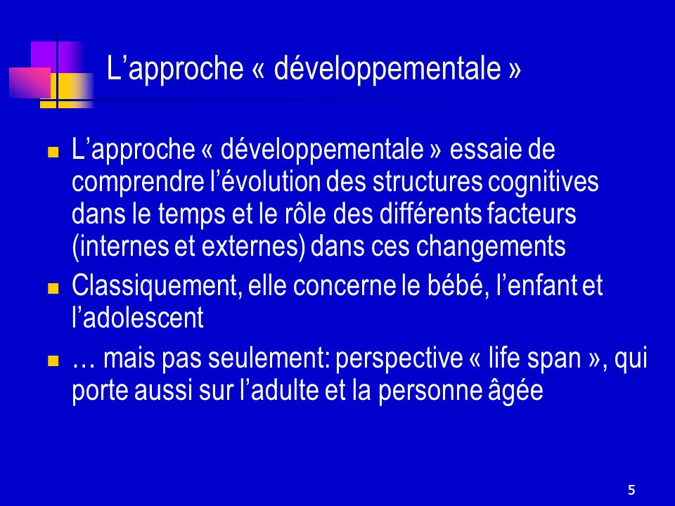 L'approche « développementale »