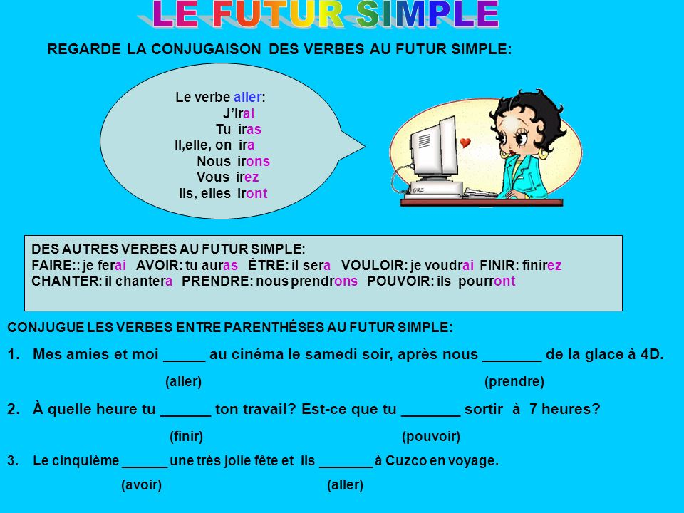LE FUTUR SIMPLE REGARDE LA CONJUGAISON DES VERBES AU FUTUR SIMPLE: