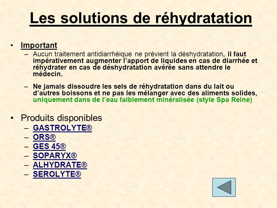 Les solutions de réhydratation