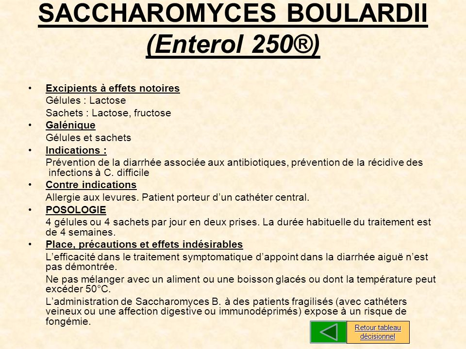 SACCHAROMYCES BOULARDII (Enterol 250®)