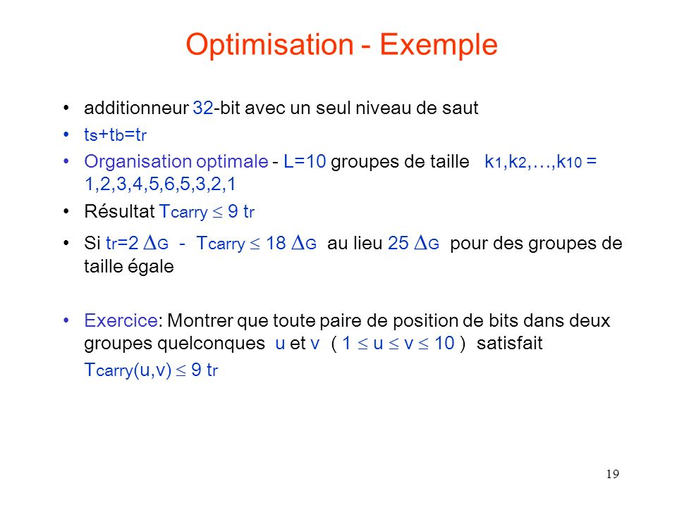 Optimisation - Exemple