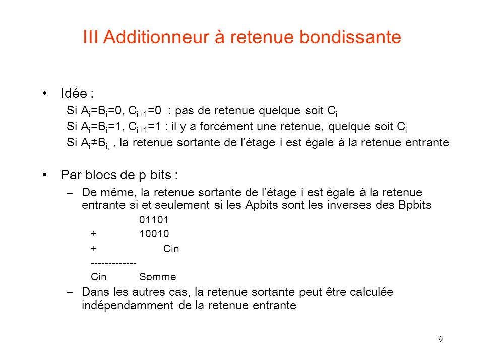 III Additionneur à retenue bondissante